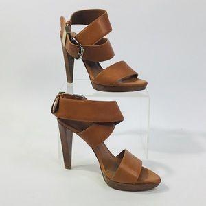 Balenciaga Camel Leather Wrap Sandal Heels